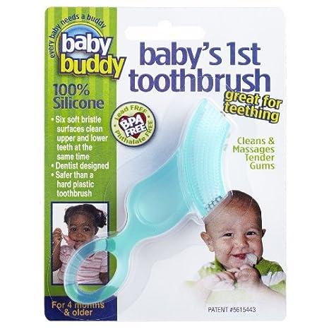 Del bebé del bebé del compinche primera Cepillo de dientes, Verde Color: Verde: Amazon.es: Bebé