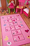 The Rug House Colourful Bright Pink Playtime Girls Hopscotch Kids Childrens Bedroom Rugs 80x150cm