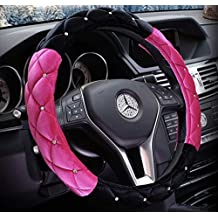 """Black and Hot Pink Winter Short Plush Car Steering Wheel Cover Crystal Rhinestone Auto Fur Steering-Wheel Covers Cases Universal Size 15"""""""