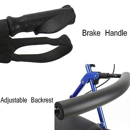 SXFYMWY - Andador Plegable de Cuatro Ruedas con Respaldo Ajustable ...