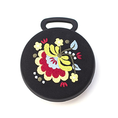 Tech Candy Better Off Thread Bluetooth Speaker Hungarian Embroidery Amazing Sound Stylish Designer Beautiful Carabiner Clip On Backpack or Bag Pretty Black Flowers Wireless Girls Women