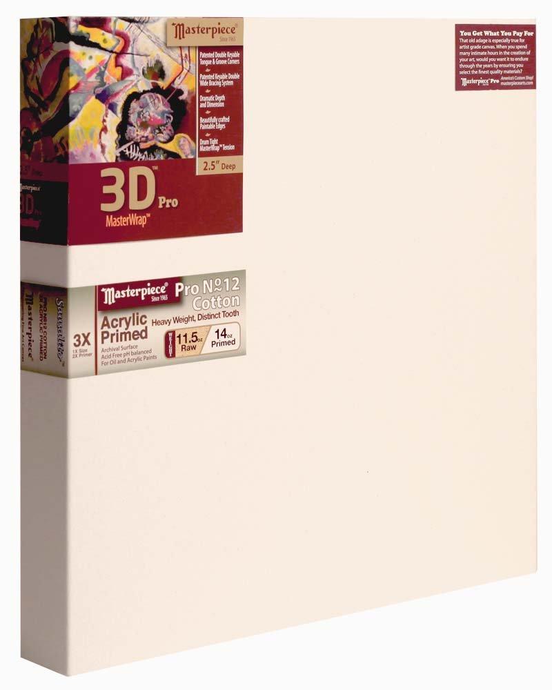Masterpiece Artist Canvas 45860 3D PRO 2-1/2'' Deep, 30'' x 30'', Cotton 14.0oz - 3X - Sausalito Heavy Weight