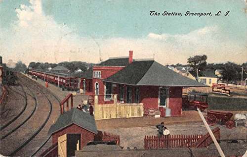 Greenport Long Island New York Train Station Depot Antique Postcard J56204 (Depot Train Postcard)
