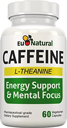 Caffeine with L-Theanine - Extra Strength Jitter-Free Focused Energy - 60 Vegetarian Soft Capsules