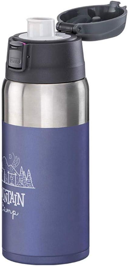 Tentock Vacuum Flask Acero Inoxidable Abre Automáticamente, Botella de Beber de Viaje sin BPA 600ml, Térmica Botella de Hidratación, 8 Horas Calientes / 8 Horas Frías