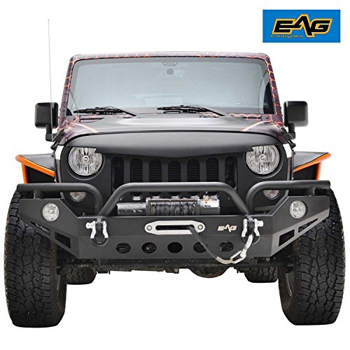 - EAG 07-18 Jeep Wrangler JK Rock Crawler Front Bumper With OE Fog Light Hole & Winch Plate & D-ring (With Isolator)