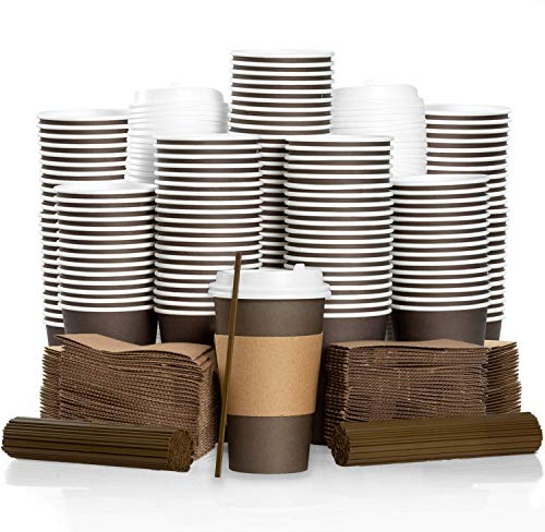 100 Pack - 16 oz To Go Coffee Cups with Sleeves, Lids & Stirrers - Disposable & Recyclable Brown Paper Travel Coffee Cups