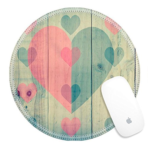 Luxlady Round Gaming Mousepad ID: 41331834 wood texture with red black heart vintage effect filter (Black Vintage Hardwood Flooring)