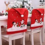 Christmas Chair Covers Dinner Room Santa Hat Chair Back Covers Set of 2 PCS for Christmas Holiday Festive Decor (Red)