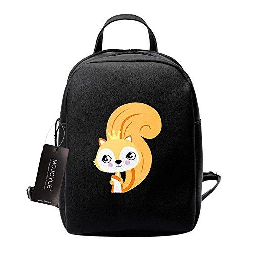 Prosperveil Women School Girl Bags PU Print Backpack Mini Leather Cartoon Animal Fox Travel Xnw14qxXr