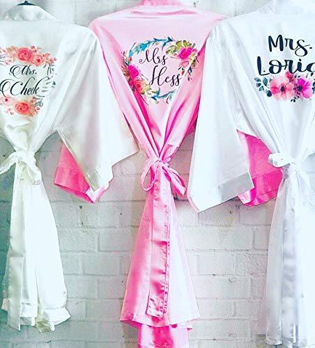 Personalized Satin Bridesmaid robes, Floral bridesmaid robes