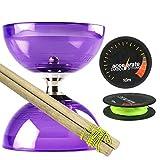 Juggle Dream Purple Cyclone Quartz 2 Diabolo Set w/ Wooden Diablo Sticks & Accelerate Diabolo String