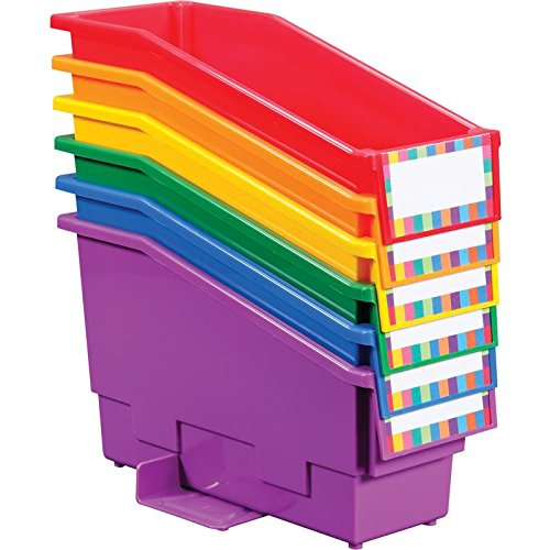 Really Good Stuff Non-Tip Magazine File Book & Folder Holders and Labels (Primary, 6 Holders)