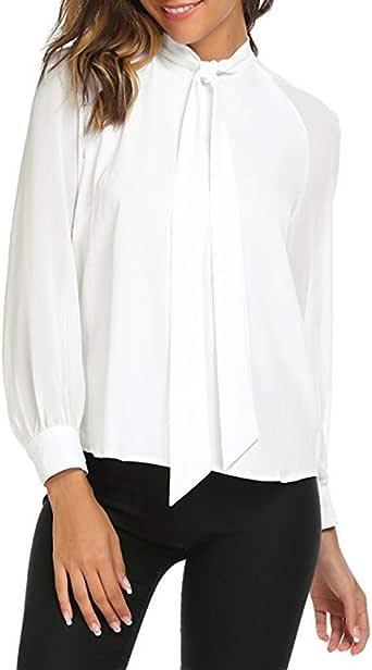 SXZG Camisa de Pajarita para Mujer Camisa Casual de Manga Larga Blanca para Mujer: Amazon.es: Ropa y accesorios
