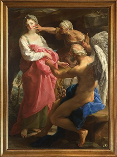 Classic Framed Pompeo Batoni Giclee Canvas Print Paintings Poster Reproduction(Time orders Old Age to destroy Beauty) (Time Orders Old Age To Destroy Beauty)