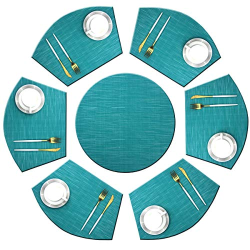 Bright Dream Wedge Placemats with Centerpiece for Dinning Table Woven Vinyl Easy to Clean Heat Resistant Table Mats (1 Round Placemats and 6 Wedge Placemats,Blue)