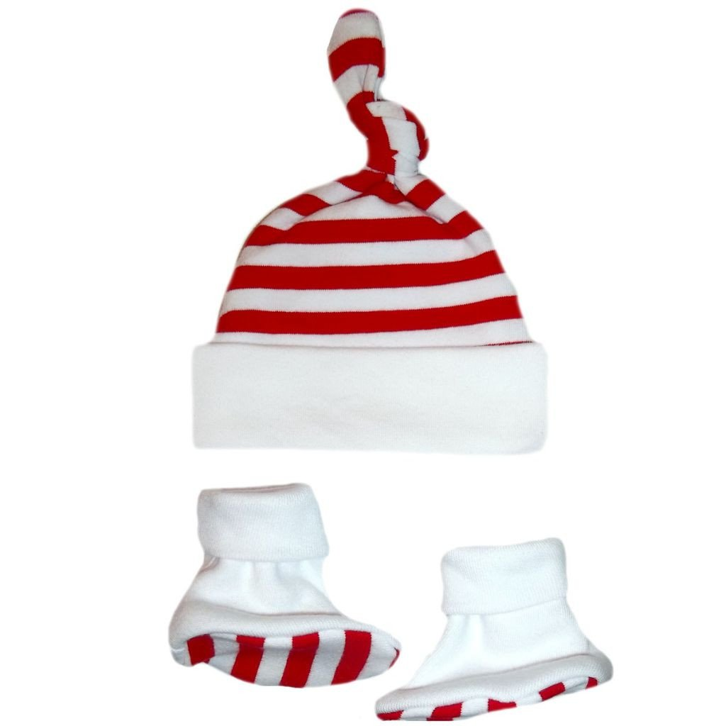 b43c4844a Amazon.com: Jacqui's Unisex Baby Red & White Striped Knotted Hat & Booties  Set - Six Sizes!: Infant And Toddler Hats: Clothing