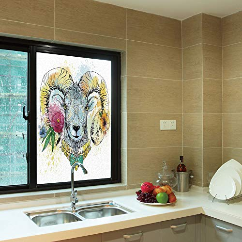 YOLIYANA No Glue Window Film,Quirky Decor,for Window Moving Glass Door,Ram Head with Horns and Blossoming Spring Flowers,24''x36''