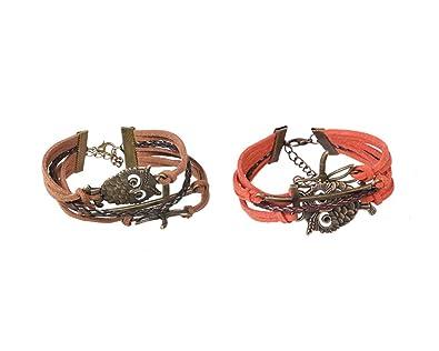 a441e5db22bdf Amazon.com: Silveam Multilayer Leather 4 wrap Bracelet Owl ...