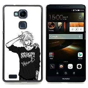 - Japanese Anime Black White Guy/ Duro Snap en el tel????fono celular de la cubierta - Cao - For HUAWEI Ascend Mate 7