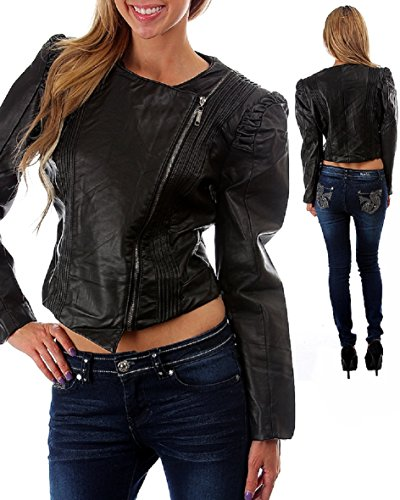 Jou Jou Black Obliqe Zipper Puff Sleeve Vegan Leather Cropped Moto Jacket (Medium)
