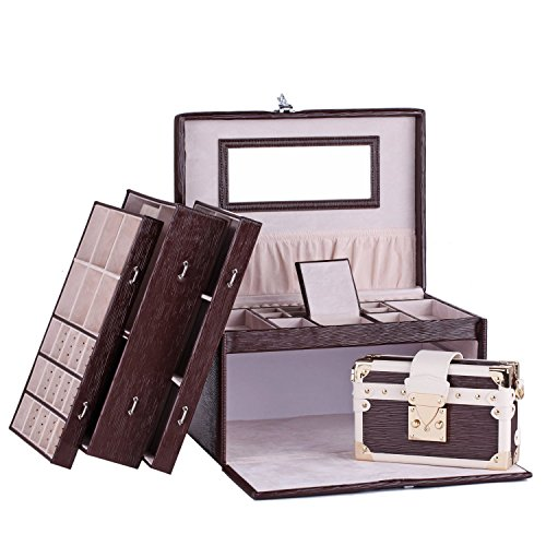 Rowling Large Jewellery Box Watch Bracelets Rings Earring Cufflinks Women Handbag (BROWN) by Rowling