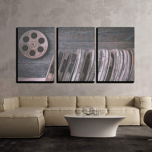 BABE MAPS 16''x24''x3 Panels Wall Decor Artwork Ready Hang Paintings Stack of Reels of Old Movies is on a Wooden Shelf Painting on Canvas Home Decorations by BABE MAPS