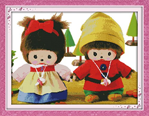 Cross Stitch Stamped Kits for Beginners 11CT 3 Strands DIY Handmade Needlework Set Cross Stitching Stamped Patterns Embroidery Frameless Home Decoration - Monchhichi In Suburb 71x55cm