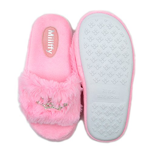 Ladies Slippers Plush Shoes Diamond Millffy Pink Bling Fluffy Crown Home Slippers Pink Girl Bling Princess U81fZ