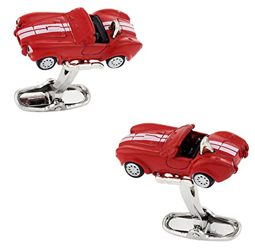 Cracked Pepper Cuff-Daddy Red Cobra Race Car Automotive Cufflinks with Presentation Box