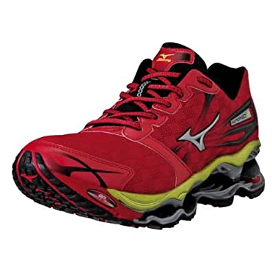 Mizuno Men's Wave Prophecy 2 Running Shoe,Red/Silver/Lime,9 D US