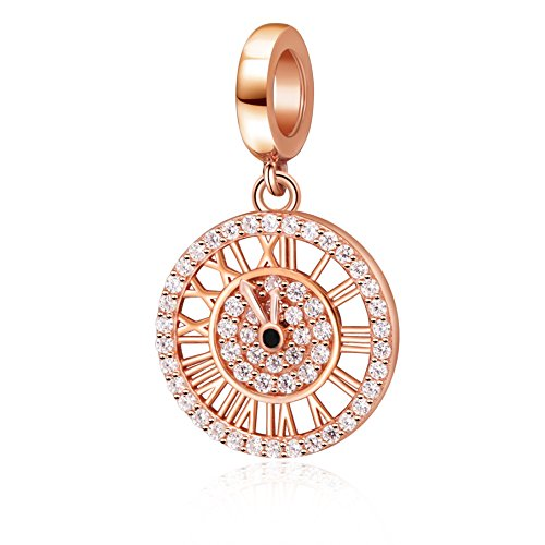 Hoobeads Rose Gold Rome Digital Clock Charms Solid 925 Sterling Silver Happy Time Bead ()
