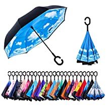 AmaGo Inverted Umbrella – Reverse Double Layer Long Umbrella, C-Shape Handle & Self-Stand to Spare Hands, Inside-Out Fold to Keep Cars & Drivers Dry, Carrying Bag for Easy Traveling