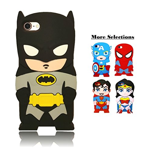 iPhone 7 Case, Cartoon 3D Character Superhero Batman Cute Soft Silicone Cover Case For Apple iPhone 7 (4.7