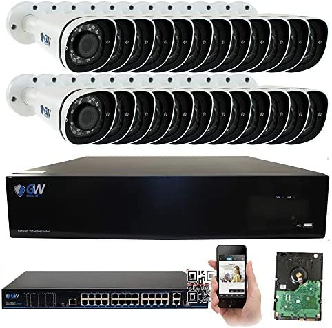 GW 32 Channel 8MP UltraHD 4K 3840×2160 Audio Video Motorized Zoom Home NVR Security System – 24 x Bullet 8 Megapixel 2.8-8mm 3X Optical Zoom Waterproof IP PoE Cameras Built-in Microphone