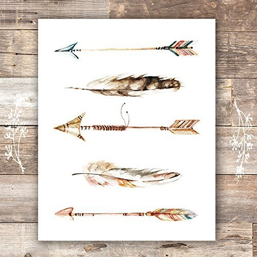 - Watercolor Arrows and Feathers Art Print - Unframed - 8x10