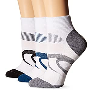 ASICS Intensity Quarter Socks (3-Pack), Poseidon, Large