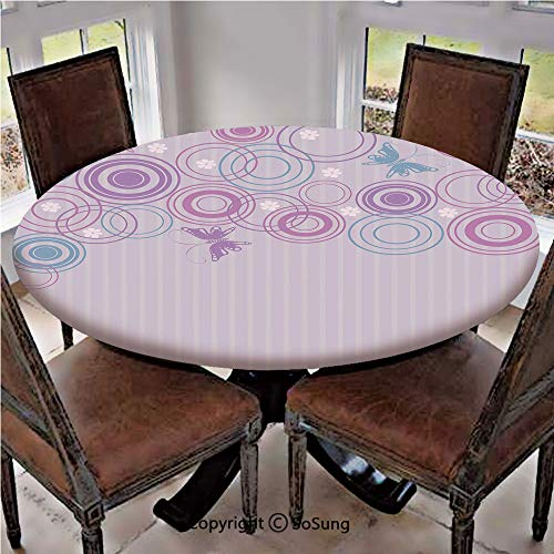 Elastic Edged Polyester Fitted Table Cover,Abstract Soft Color Background with Lovely Summer Season Animals and Circles,Fits up 40
