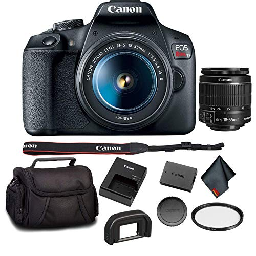 Canon EOS Rebel T7 DSLR Camera with 18-55mm Lens Bundle with UV Filter + Carrying Case and More