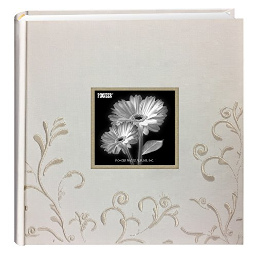 Pioneer Embroidered Scroll Fabric Frame Cover Photo Album, Ivory on Ivory