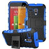 Moto G Case, Sophia Shop 2 in 1 Black Hard Back Cover Combine Multi-color Option TPU Soft Slim Fit Impact Resistant Protective Armor Cover Case with Built-in Bracket Stand for Moto G (Blue)