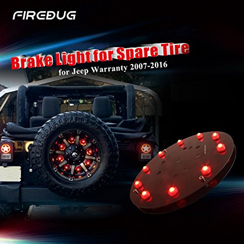 Firebug Jeep 3rd Brake Light LED, Jeep Light Accessories for Spare Tire, Jeep LED Brake Light, Jeep Wrangler JK 2007 - 2016, Red Light