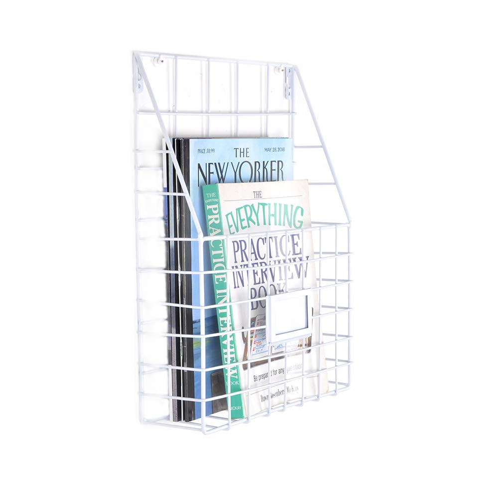 White Metal Wire Magazine Rack Holder Newspapers Organizer Wall Mounted Iron Basket Dorm Bedroom Living Room Office ZONYEO