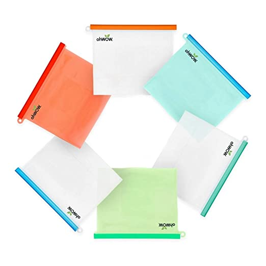 Amazon.com: Paquete de 6 bolsas de silicona de ...