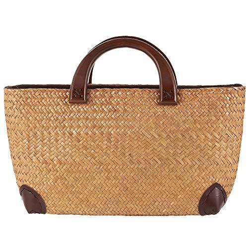 (Handwoven Straw Large Hobo Bag for Women, Wood Handle Tote Retro Summer Beach Bag Rattan Handbag)