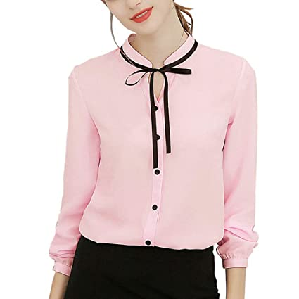 6fe3650f Image Unavailable. Image not available for. Color: 2019 Women Chiffon Blouse ,Ladies Work Office Long Sleeve Bow Tie Button Down Shirt Top