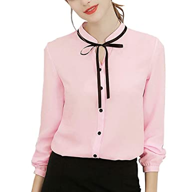 a05bc099d5b Women Chiffon Blouses Long Sleeve Tops Ladies Elegant Office Work Bow Tie  Neck Shirt Casual Solid Color Loose Tunic Top White Pink