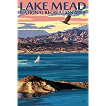 Lake Mead - National Recreation Area - Lake View (12x18 Collectible Art Print, Wall Decor Travel Poster)