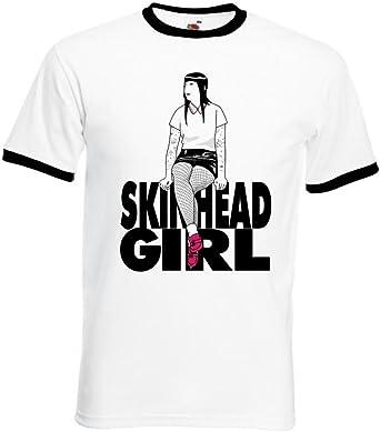 Diseño de Chica con Skinhead para Hombre de Manga Corta para Chica T-Shirt Contrast: Amazon.es: Ropa y accesorios