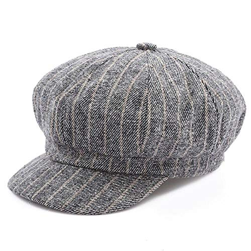 Ladies Vintage Hat Tweed Striped Newsboy Cap Women Grey Khaki Black Eight Panel (Lt Grey,One Size)